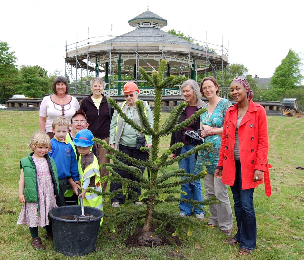Friends of Greenhead Park planting a monkey puzzle tree, May 2010